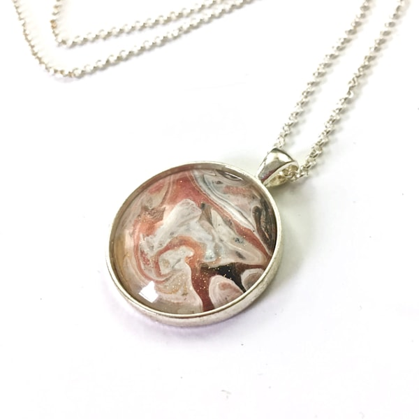 Pendant Necklace, Silver Tone