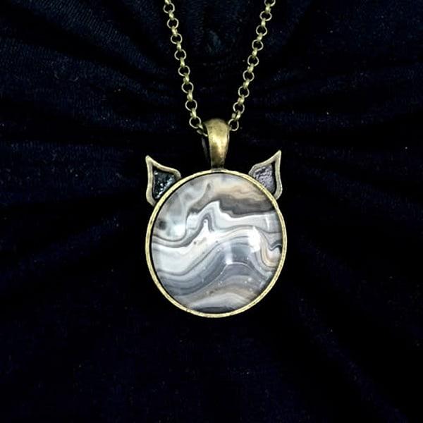 Pendant Cat Necklace, Antique Bronze Tone