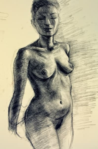 Study of Asian Female Nude Fine Art Open Edition Print