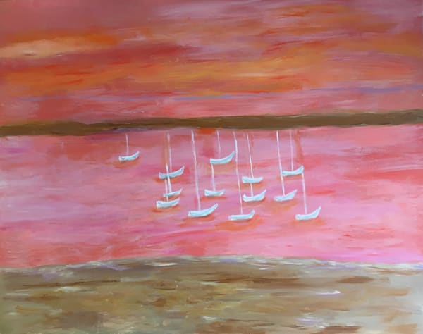 Sails coastal mixed media painting by Mary Kinzelberg