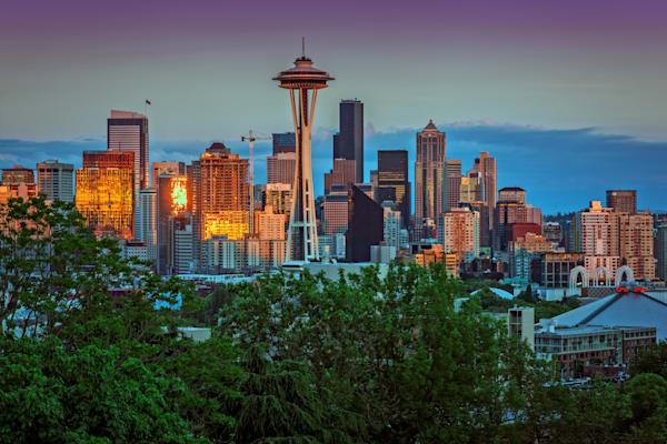 Emerald City Gold, photograph of the Seattle Skyline by Rick Berk