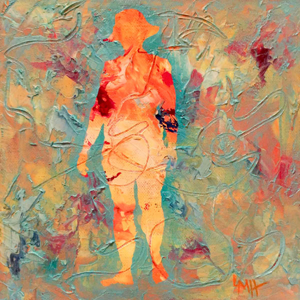 Beach Walk, a museum quality fine art print from the Silhouette Collection by Laura mcRae Hitchcock, depicts a woman with a hat walking on the beach