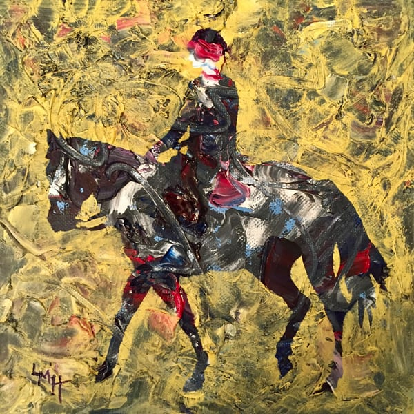 Walk Trot Canter, a  museum quality fine art print from the Silhouette Collection by southern artist, Laura McRae Hitchcock, depicts a figure riding a horse.