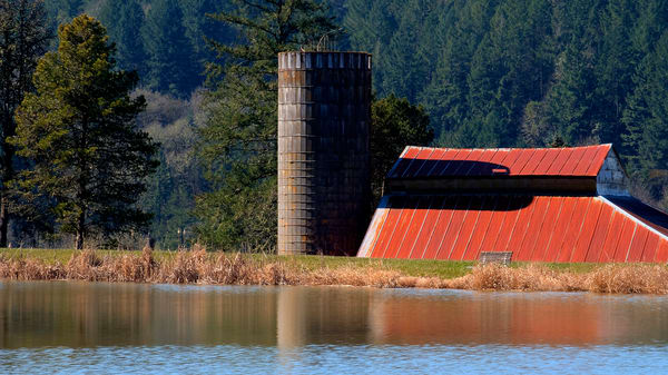 Red Roof Silo Reflections