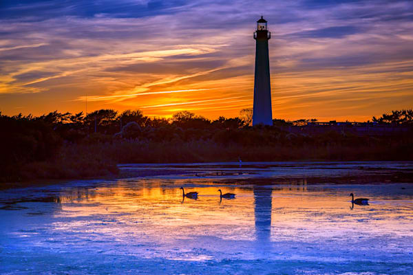 Sunset at Cape May Lighthouse by Rick Berk