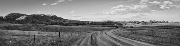 Panoramas/Wide View Collection - bw | Ranch Road, Northern Colorado - bw. Black and white version of David Zlotky fine art photograph of evening over rolling hills in cattle country.
