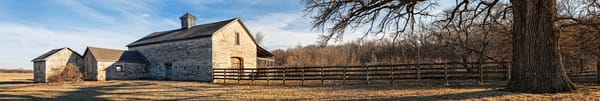 Panoramas/Wide View Collection - color | Stone Barn, Eastern Kansas - color. Fine art color photograph by artist and photographer, David Zlotky.