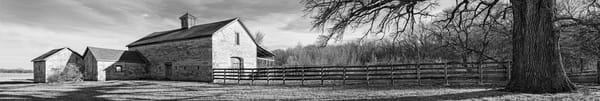 Panoramas/Wide View Collection - bw | Stone Barn, Eastern Kansas. This is fine art, black and white, panorama of a classic old stone barn in Kansas. Photograph by David Zlotky.