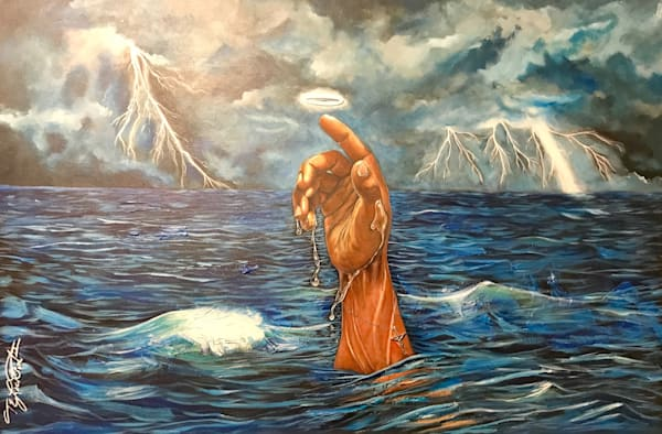 Drowning In God's Love Psalm 139:7 12(Sold) Art   thomaselockhart