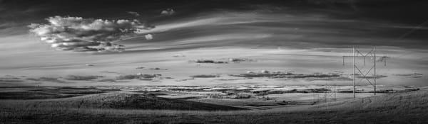 Panoramas/Wide View Collection - bw | Power and Light, the Kansas Flint Hills. Clouds and power lines in a fine art photograph by David Zlotky.