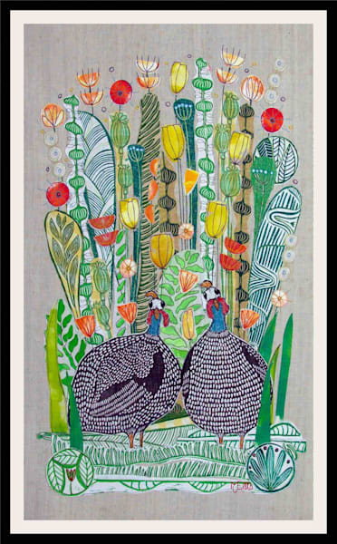 SOLD -Guineahens in the Tulips - linocut collage on textile