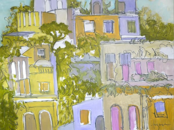 Abstract Architecture Painting, Earth Tone Village by Dorothy Fagan