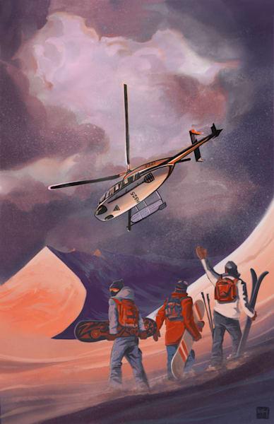 Revelstoke, Monashee mountain alpine ski, snowboard, heliski,  ski art, back country ski, ski art, ski painting by Sassan Filsoof