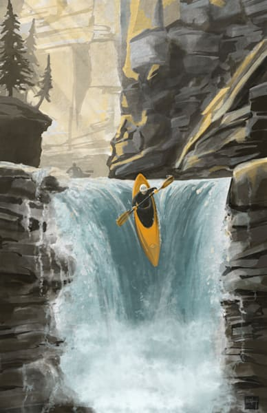scenic white water extreme river waterfall kayaking art by Sassan Filsoof, great outdoors, cabin art,