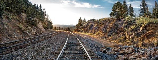 Panoramas/Wide View Collection - color | Riding the Rails, Northern Colorado. Fine art color photograph by David Zlotky