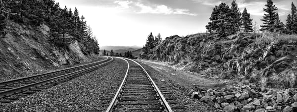 Panoramas/Wide View Collection - bw | Riding the Rails, Northern Colorado - bw. Tracks stretching to horizon. David Zlotky photograph.