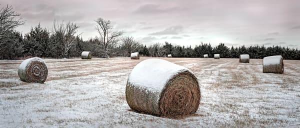 Americana color fine art photograph | Snowfield Panorama, Eastern Kansas - color, by fine art photographer, David Zlotky