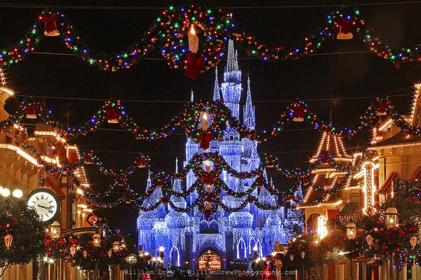 Magic Kingdom at Christmas - Disney Castle Wall Murals   William Drew