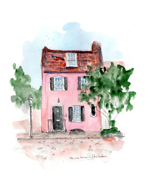 The Pink House Watercolor Art Print