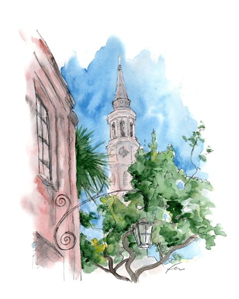 Saint Phillips Church Watercolor Art Print
