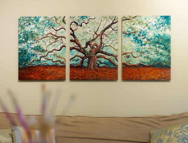 Angel Oak Triptych Art Print on Metal