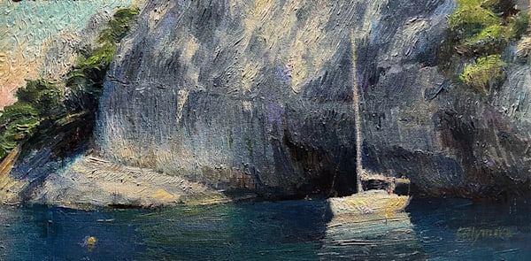 Sailboat In The Calanques De Cassis Art | Fountainhead Gallery