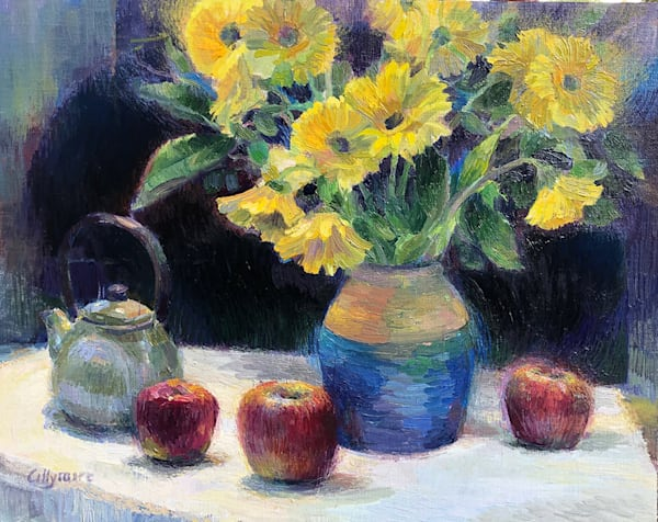 Still Life with Flowers, Apples and Teapot