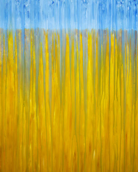 Rainy Moment 10   Field Of Grain In Rain By Rachel Brask Art | Rachel Brask Studio, LLC