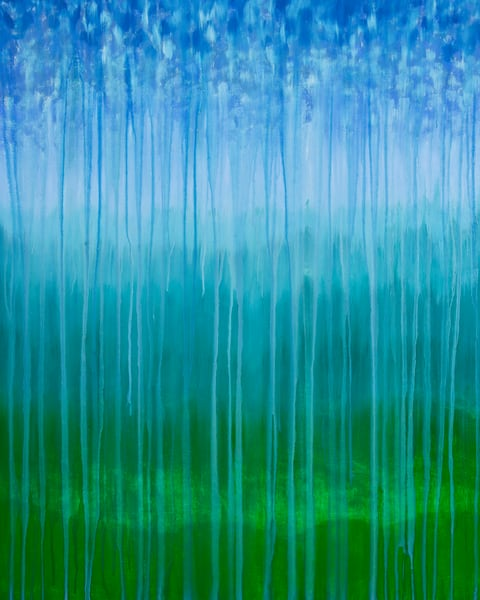 Rainy Moment 08   Forested Mountains In Rain By Rachel Brask Art | Rachel Brask Studio, LLC