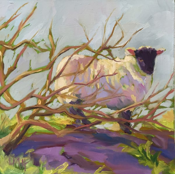 Hide and Seek by Laura McRae Hitchcock is a museum quality fine art print on archival watercolor paper using the finest inks. depicting a lamb in vibrant colors.