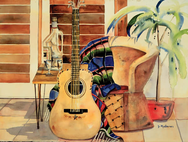 Guitar Southwest Scene Mini Canvas