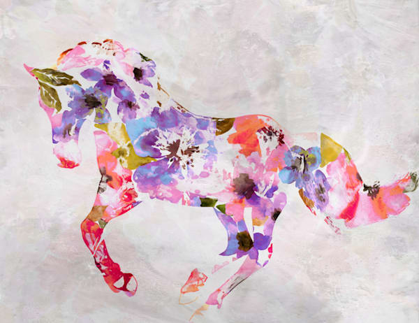 Colorful Abstract Floral Horse Art | Irena Orlov Art