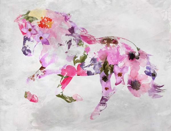 Pink Boho Floral Horse 3