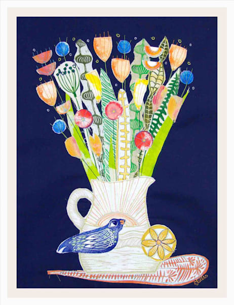 Linocut collages on fabric, fiberarts, with handprinted textiles Mariann Johansen-Ellis creates collages from her own linocuts. Mainly floral collages, still life, painting, art, paintings