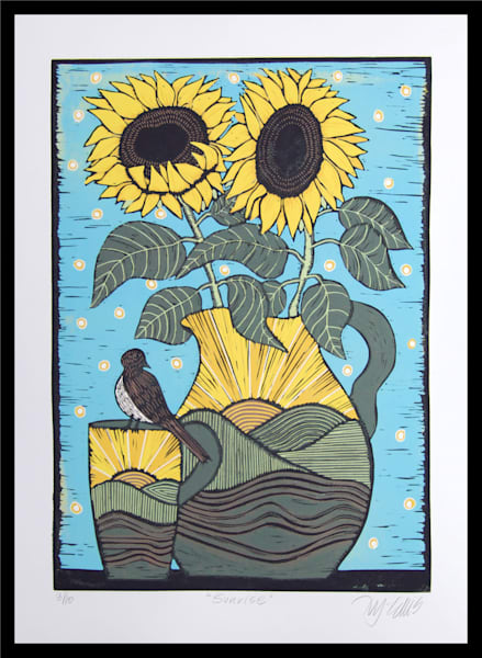 Sunflower Sunrise - linocut reduction