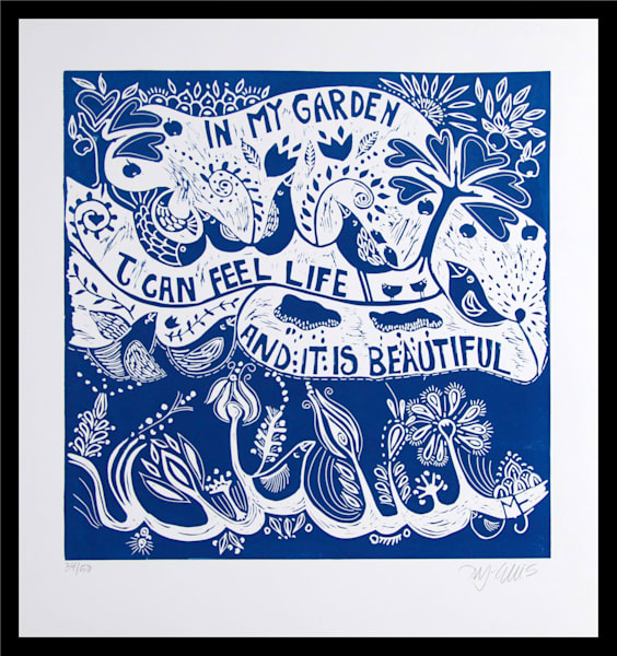 an inspirational linocut for gardeners and country lovers by Printmaker Mariann Johansen-Ellis, art, paintings