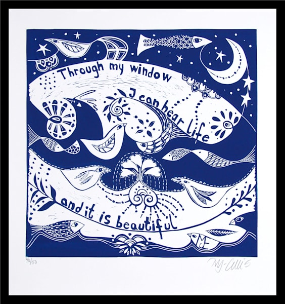a blue and white print, an original linocut with typographic art, landscape with fish and birds and inspirational art by printmaker Mariann Johansen-Ellis, art, paintings
