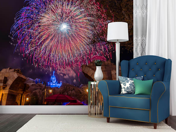 Be Our Guest Fireworks 5 - Disney Castle Wall Murals