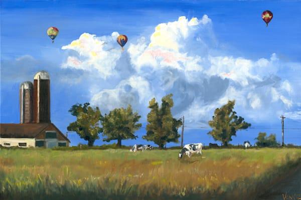 Lancaster Farm Landscape With Balloons   Original Painting Art   OPV Art, LLC