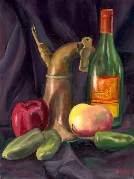 Still Life   Produce, Horn And Wine Bottle   Original Painting Art   OPV Art, LLC