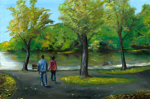Walk At Alvethorpe Lake   Original Painting Art   OPV Art, LLC