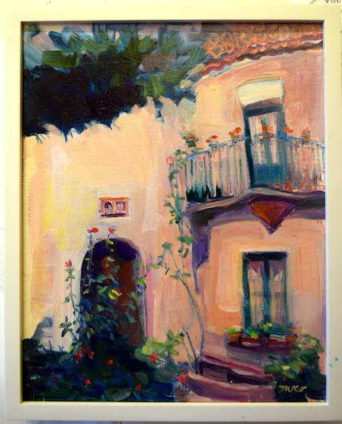 "French villa  ""France Pink Stucco House in Nice with Roses, 10x 8"", oil on wood panel framed with white floater frame"