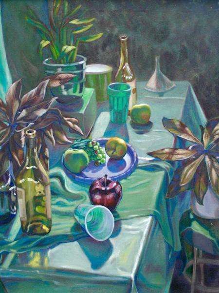 """""""Green still life"""" - Original art oil painting"""