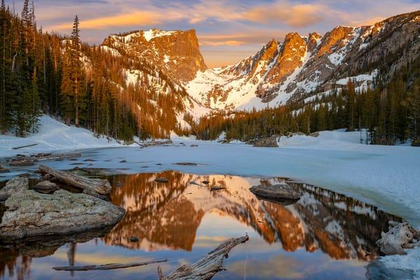 Photo of Colorful Sunrise Over Dream Lake & Hallett Peak in RMNP