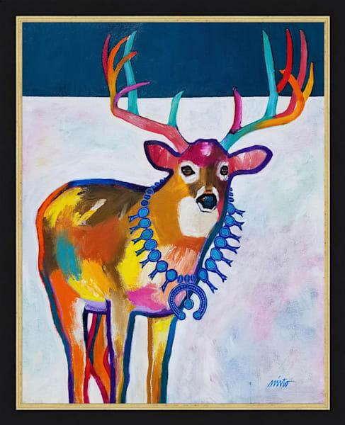 Deer Wearing Squash Blossom Necklace | John Nieto Original Painting