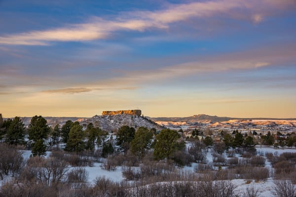 First Light on The Rock in Castle Rock CO - Winter Morning - Art Prints