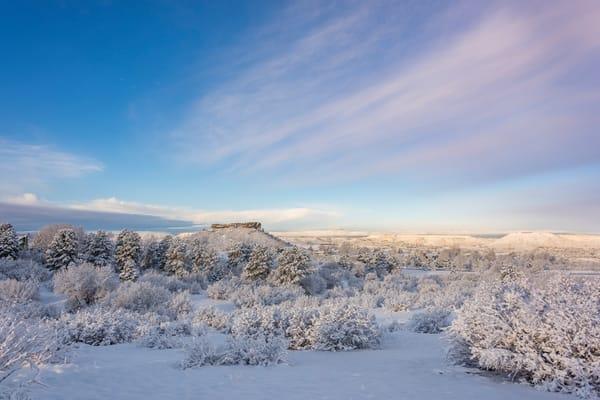 Photo of Castle Rock Colorado After Fresh Snow, Winter Morning Sunrise