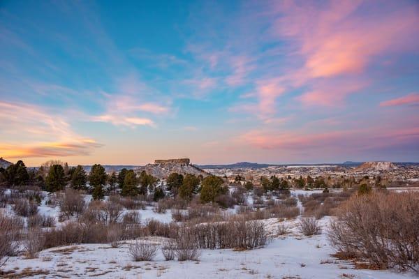 Photo of Castle Rock CO Pink, Blue and Golden Sunrise Colors