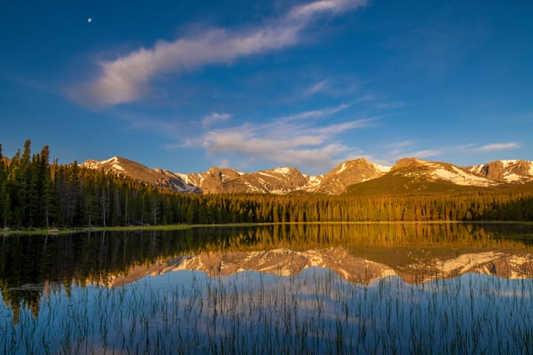 Landscape Photo of Bierstadt Lake as Moon, Clouds & Peaks Reflect Upon Clear Water