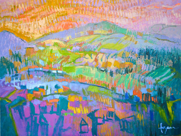 Colorful Abstract Mountain Landscape Oil Painting by Dorothy Fagan